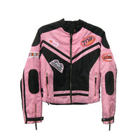 Vintage Baby Pink Zip-up Warm Motocross Jacket (Size M)