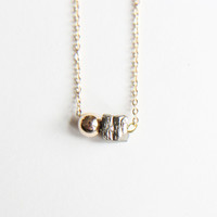 Sidekick Pyrite cube and Gold Ball Necklace