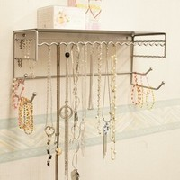 """Silver 17"""" Wall Mount Jewelry & Accessory Storage Rack Organizer Shelf for Earrings, Bracelets, Necklaces, & Hair Accessories"""