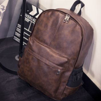 Vintage Brown Leather Backpack Travel Bag