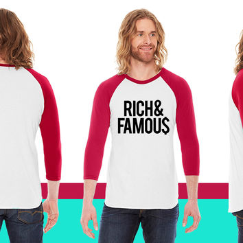 Rich and Famous American Apparel Unisex 3/4 Sleeve T-Shirt