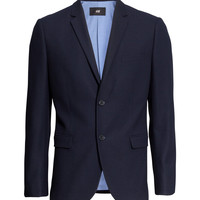 H&M - Textured-weave Blazer - Dark blue - Men