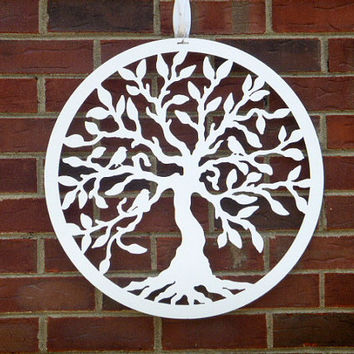 "Summer Wreaths,, Metal Door Wreath, Tree of Life w/ birds - 24"", Metal Wall Art, Tree Art, Garden Art- Custom Colors available ."