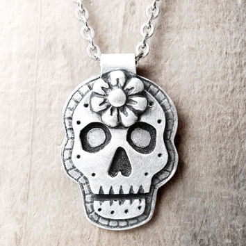 Day of the Dead necklace sugar skull Día de los Muertos jewelry calaveras pendant