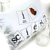 I Heart Science Pillow - Silver