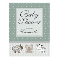 Baby Animals for Baby Shower Invitation Postcard