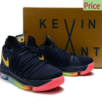 Factory Authentic Youth Big Boys Nike KD 10 Be True for the NBA Finals Rainbow shoe