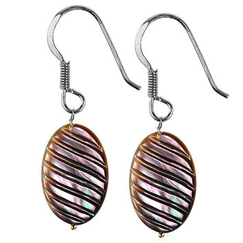 Oval Carving Mother of Pearl Earrings in Sterling Silver