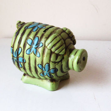 Vintage Psychedelic 60s Piggy Bank, Flower Power Piggy Bank, Paper Mache Piggy Bank, Pig Statue, SALE