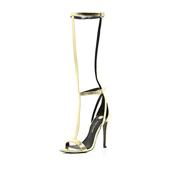 River Island Womens Gold high leg T bar barely there sandals