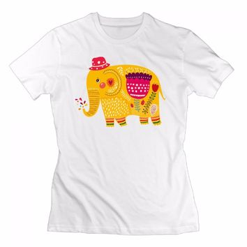 Flower Elephant Design Tie Dye Print T Shirt Anime Unicorn Short Sleeve T-shirt Women summer Tumblr Shirt Hip Hop  Mujer Tops
