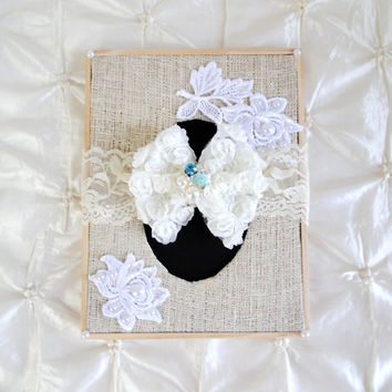 """Shabby Chic Ivory Lace Headband 2"""" Stretch Lace W/Removable Chiffon Rosette Bow Aqua Rose Rhinestone & Pearl Center Other Colors Available"""