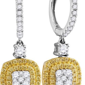 18kt White Gold Womens Round Yellow Diamond Square Cluster Dangle Earrings 7/8 Cttw