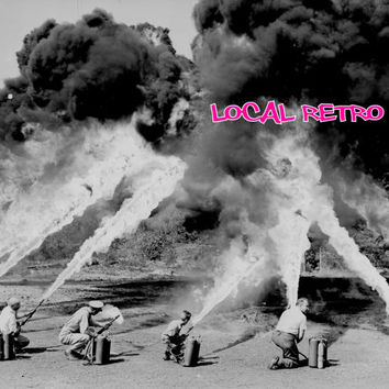 World War 2 Fine Art - Black & White Photography - Flame Thrower Training Picture - Dude Stuff