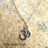 Sterling silver chain anklet, OHM silver charm (any size)