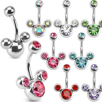 Mouse Triple Bubble Navel Ring 316L Surgical Steel Belly Ring Blue, Aurora Borealis, Clear