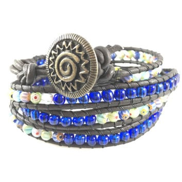 Bracelet Multi Color Trendy Leather four Wrap Bracelet Bohemian Chic Women Girls Trendy Yoga Wrap Boho Millefiori Casual Denim Blue Gyspy
