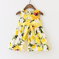 Sleeveless Lemon Print Baby Dress