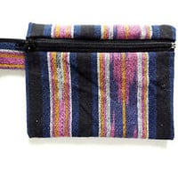 Tribal Wallet Coin Pouch Native American Southwest Black Cotton Zipper Small Bag