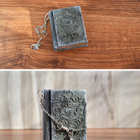 Small journal Mini notebook Mini book Mini spell book grimoire Miniature mixed media book Old notebook sharm Textured cover notebook Black