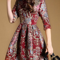 Red Jacquard Print High Waisted Mini Dress