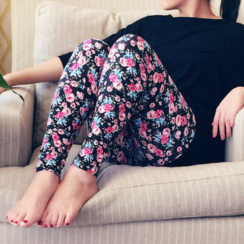 SALE - Pink Multi Color Floral Leggings