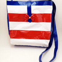 Red White Blue Stripes Patriotic Duct Tape Purse Hand Bag