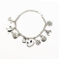 NEW Nightmare Before Christmas Halloween Gothic Jack Skellington charm bracelet