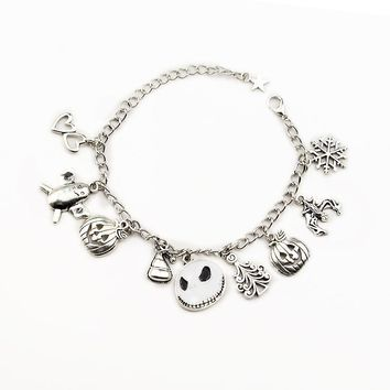 Trendy Halloween Jack Skellington Sally Snowflakes Skull Pumpkin Bracelet The Nightmare Before Christmas Charm Bracelet