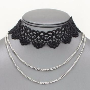 *[N/L]-Lace Layered Choker Necklace-Black with Silvertone Chain