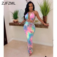 Rainbow Tie Dye Sexy Club Party Dress Women Off The Shoulder Backless Bandage Dresses  Summer Waist Band Cut Out Beach Sundress