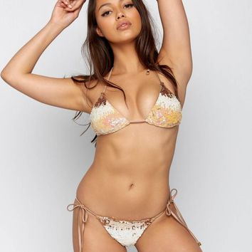 Beach Bunny Ariel Blush Ombre Sequin Triangle Top with Side Tie Bottom Bikini Swimwear Set