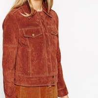 ASOS Western Jacket In Suede With Stitch Detail at asos.com