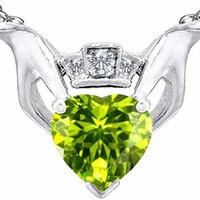 2.05 cttw Celtic Love by Kelly Heart Claddagh Pendant With Genuine Peridot in .925 Sterling Silver