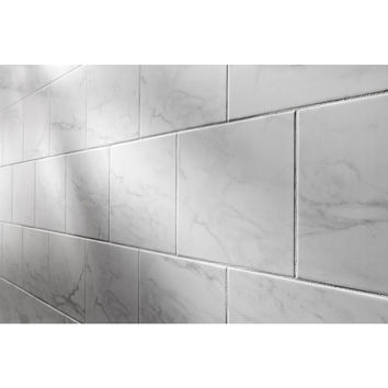 Shop American Olean Mooreland Carrara White Glazed Ceramic Indoor/Outdoor Wall Tile (Common: 9-in x 12-in; Actual: 9.02-in x 12.02-in) at Lowes.com