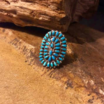 SIZE 5 1/2, PETIT POINT TURQUOISE CLUSTER RING
