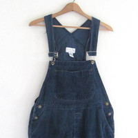 Vintage dark blue Corduroy Bib Overalls Shorts .. Carpenter Pants Size Womens M