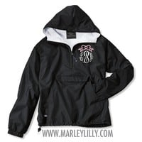 *LIMITED EDITION* Monogrammed Black Bow Pullover Rain Jacket