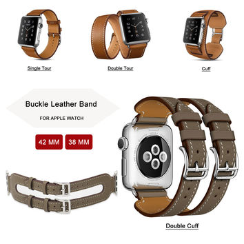 42MM Genuine Leather Strap For Apple Watch Band Single Tour / Double Tour / Cuff Leather Band for Apple Watch