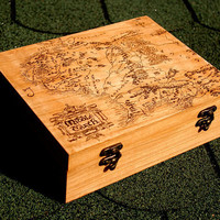 Lord of the Rings Middle Earth map woodburned box with tracking