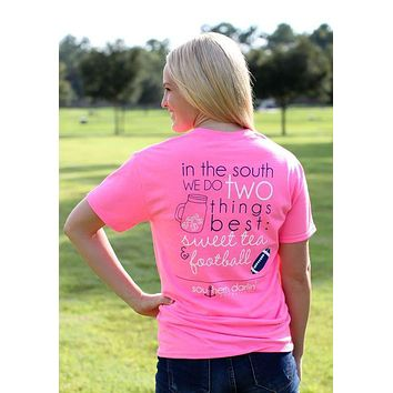 Southern Darlin In the South Football & Sweet Tea Bright Girlie T-Shirt