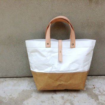 Two tone Kraft and Tyvek paper lunch bag snap handles leather