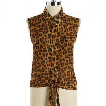 Ark & Co Sleeveless Animal Print Blouse