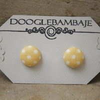 Mustard Mellow Yellow Polka Dot Design - Mustard Mellow Light Yellow with White Dots Fabric Button Stud Post Earring- Wedding- Classy Lines