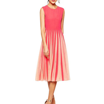 Pink Sleeveless Pleated Midi Dress