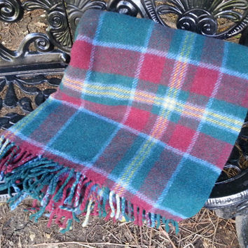 Vintage Green Plaid Wool Blanket Highland Home Industries Made in Scotland