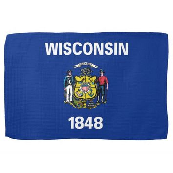 Kitchen towel with Flag of Wisconsin, U.S.A.