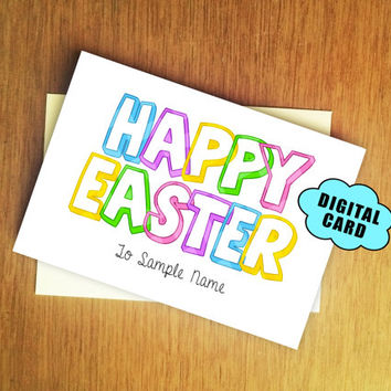 Happy Easter - Customizable Easter Card DIGITAL CARD PDF