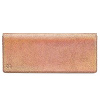 Gucci Broadway Crackled Metallic Leather Clutch Bag 342630 Rose Gold