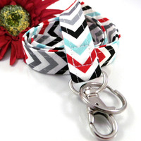 Chevron Lanyard Red Grey Aqua